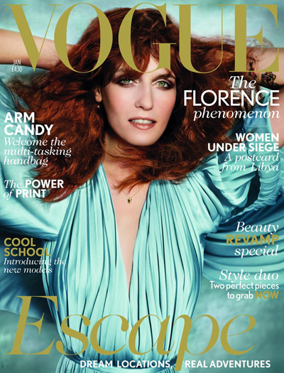Florence Welch for the British Vogue's January 2012 issue.