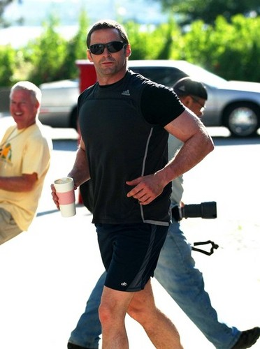 Hugh Jackman Running In NYC