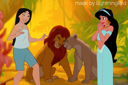 Jasmine, Mulan, Simba, Nala