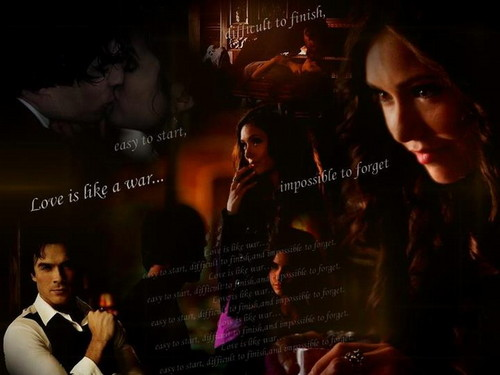 katherine pierce wallpaper probably containing a show, concerto entitled Katherine & Damon