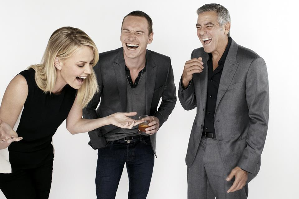 Michael Fassbender having a laugh with Charlize Theron and George Clooney