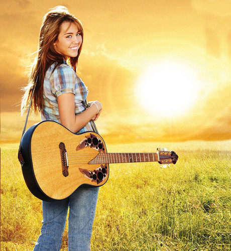Weibliche TV-Figuren Hintergrund probably with an acoustic gitarre entitled Miley Cyrus - Hannah Montana The Movie