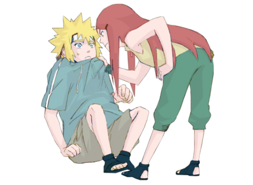 Naruto achtergrond possibly containing an outerwear, a well dressed person, and a sweat suit titled Minato x Kushina