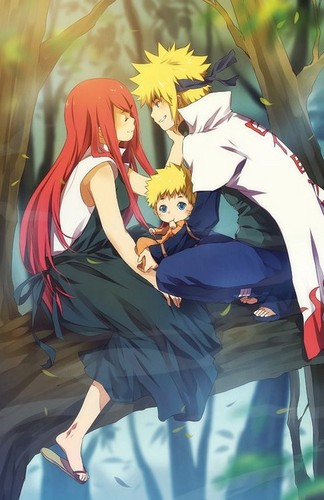 Naruto wallpaper probably with a sign entitled Minato x Kushina
