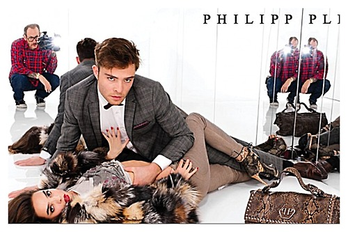 Ed Westwick wolpeyper probably containing a sign called Philipp Plein Fall/Winter Campaign Photoshoot (MQ)