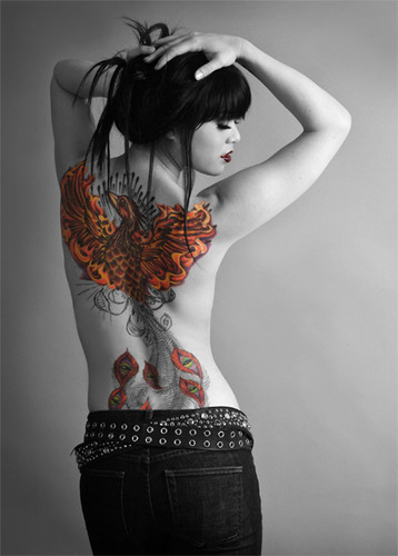 Tattoos wallpaper possibly containing a skirt, a sundress, and a playsuit titled Phoenix Color Back Tattoo
