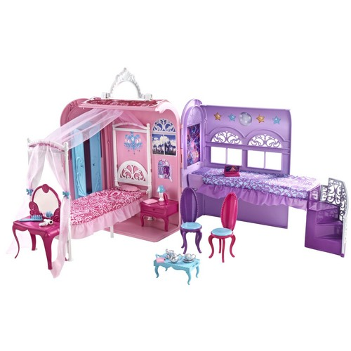 Barbie the Princess and the popstar wallpaper with a living room, a trundle bed, and a drawing room called Playset