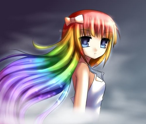 Rainbow anime girl