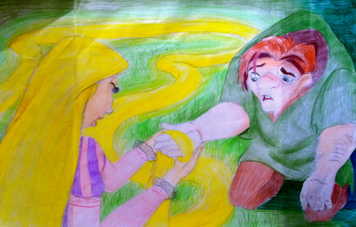 Rapunzel healing Quasi's Hand