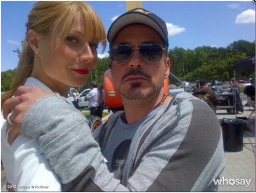 Robert& Gwyneth on the set of Iron Man 3