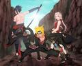 Sasuke, Naruto, and Sakura in Akatsuki