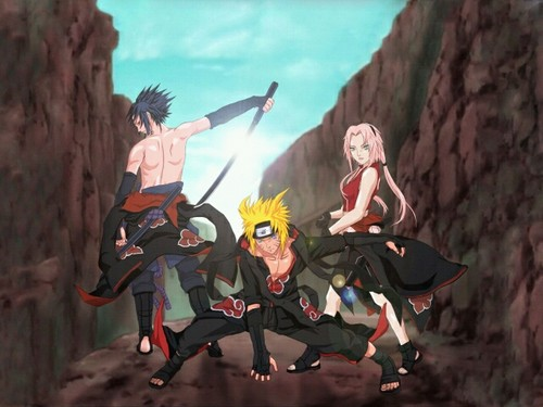 Sasuke, Naruto, and Sakura in 暁(NARUTO)