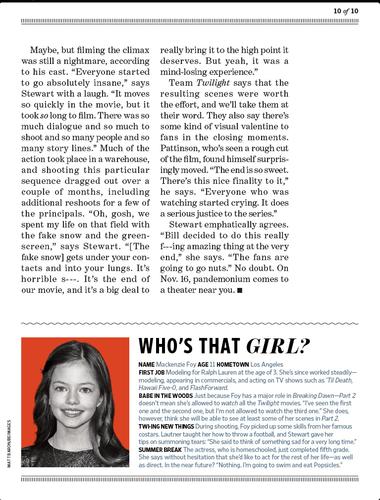 Scans of Breaking Dawn Part 2 in EW magazine 2012