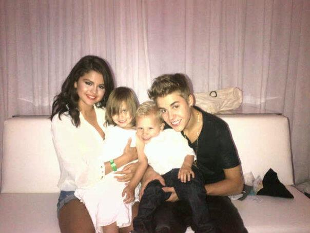 Selena Gomez, Justin Bieber, Jazmyn Bieber and Jaxon Bieber