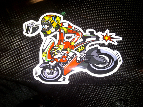 Stickers on Valentino's bike