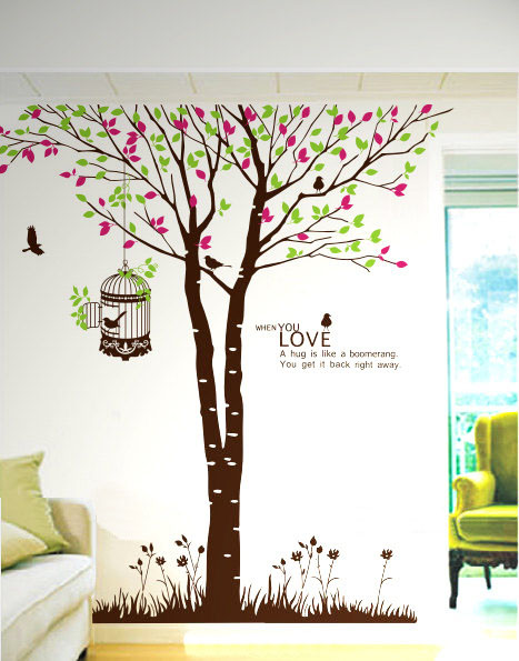 When You Love Giant Tree and Birds Wall Sticker Home