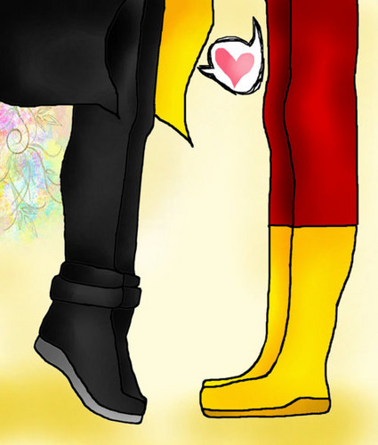 Kid Flash + Robin wallpaper possibly with a hip boot entitled Who else?