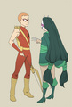 cheshire and speedy - teen-titans-vs-young-justice fan art