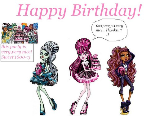 Monster High fond d'écran containing animé titled happy birthday draculaura