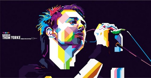 thom yorke in wedha's pop art potrait (WPAP)