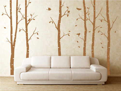 6 Birch arbre With Flying Birds mur Sticker