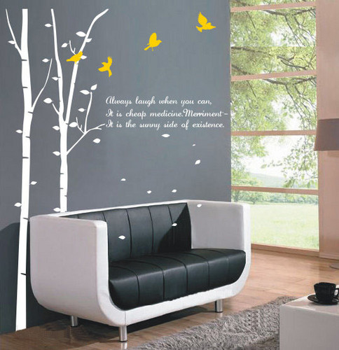 Home Decorating wallpaper with a living room and a family room entitled Always Laugh When You Can Birch Tree and Flying Birds Wall Sticker