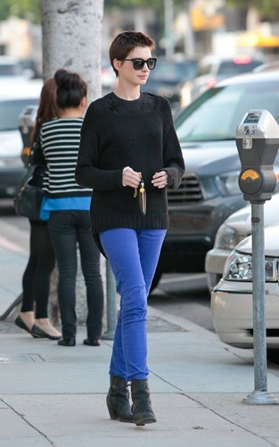 Anne Hathaway leaving BIbigo Korean BBQ in Beverly Hills, California (June 20).
