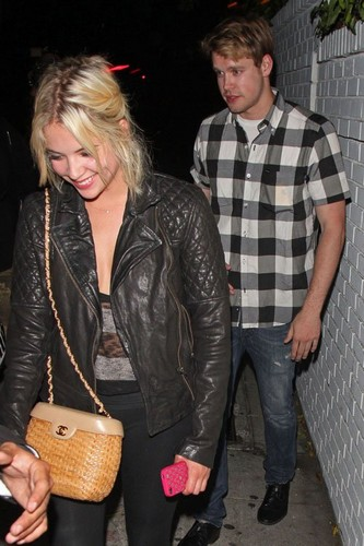 Ashley and Chord Overstreet leaving chateau Marmont