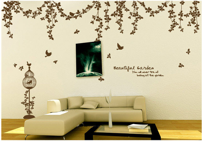 Beautiful Garden Vine Birds and butterfly, kipepeo ukuta Sticker