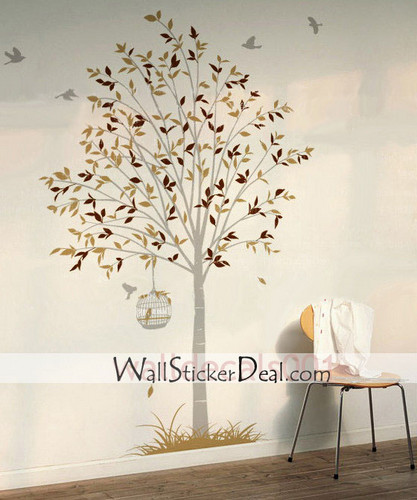 Birds Flying Around Tree Nature Wall Stickers