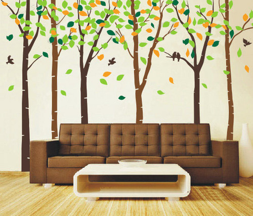 Главная Decorating Обои containing a living room entitled Birds in the 6 Birch дерево with Colorful Leaves Стена Sticker