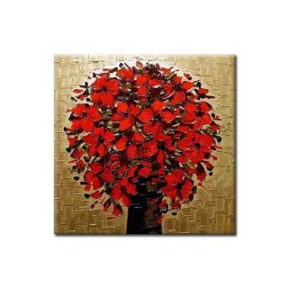 Fine Art wallpaper called Blossoming Red Flowers Oil Painting
