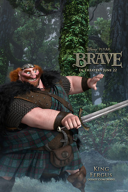 Merida - Legende der Highlands Hintergrund probably with a surcoat, a tabard, and a muskete titled King Fergus