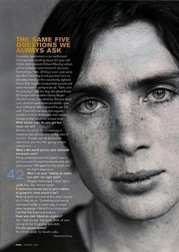 Cillian Murphy wolpeyper called C.M in JANE magazine
