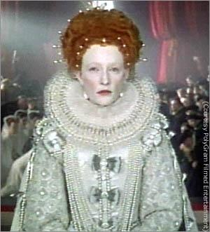 Tudor History karatasi la kupamba ukuta probably containing a dashiki and a surcoat titled Cate Blanchett as Elizabeth I