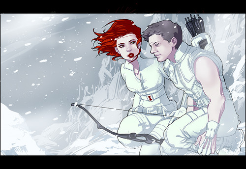 Hawkeye & Black Widow karatasi la kupamba ukuta with anime called Clint & Natasha <3