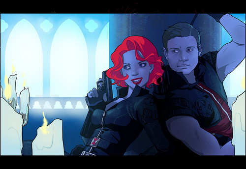 Hawkeye & Black Widow karatasi la kupamba ukuta possibly with anime titled Clint & Natasha <3