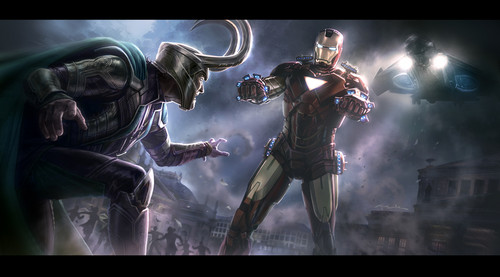 Concept art of Iron Man and Loki