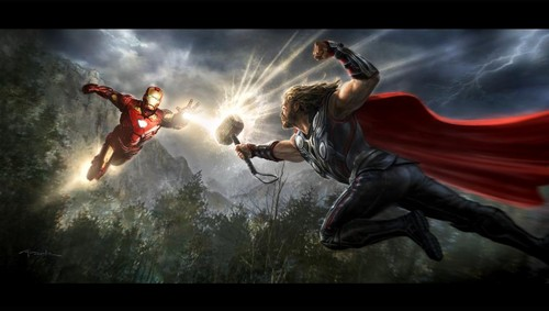 Concept art of Thor vs आयरन मैन