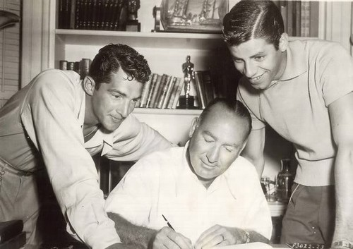 Dean Martin, Jerry Lewis & producer Hal Wallis