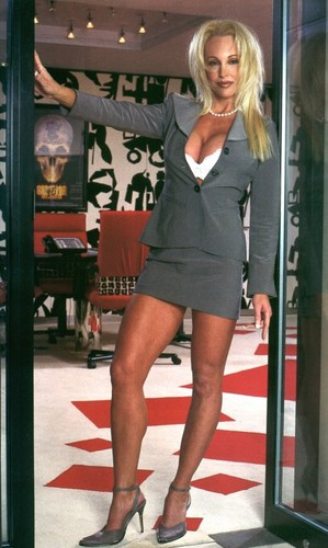 Frühere WWE-Diva… Debra Hintergrund probably with bare legs, a hip boot, hot pants, and hot pants, hot-pants titled Debra - A Tag at the Office