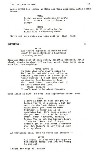 Deleted Scene: 3x13 दिल - Tina/Artie/Mike