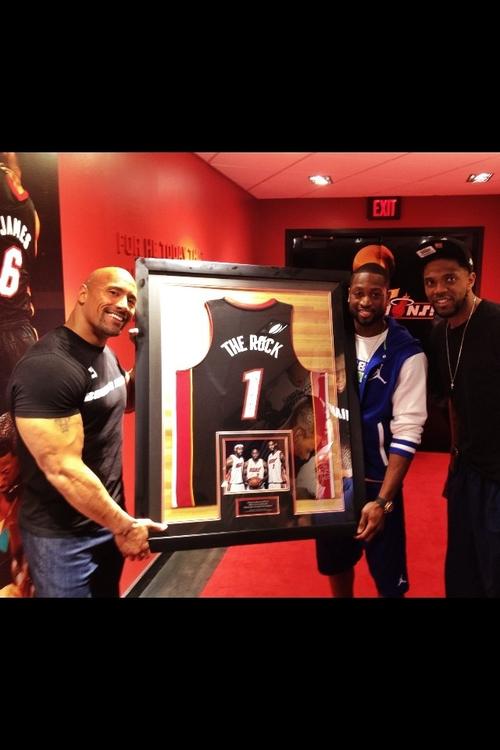 Dwayne Johnson with Dwayne Wade and Lebron James