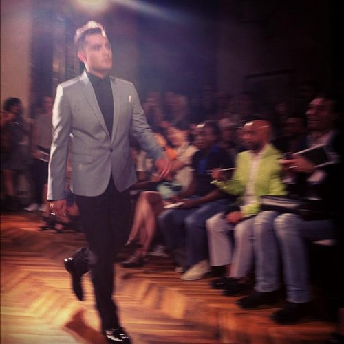 Ed Westwick wolpeyper with a business suit, a suit, and a three piece suit called Ed Westwick - Milan Men's Fashion Week for Philipp Plein