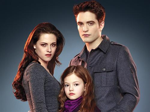 বেলা সোয়ান দেওয়ালপত্র containing a well dressed person and a portrait titled Edward,Bella,and Renesmee