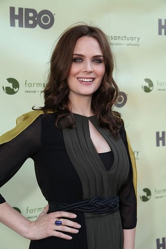 Emily Deschanel attends the star-studded Farm Sanctuary Benefit cocktail Party in Los Angeles