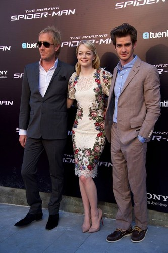 "Emma Stone, Andrew Garfield and Rhys Ifans at the Spanish premiere of ""The Amazing Spider-Man"" (June"
