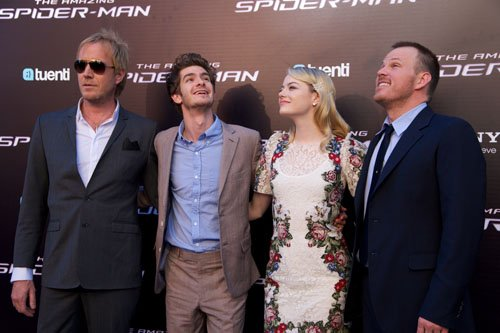 "Emma Stone, Andrew 加菲猫 and Rhys Ifans at the Spanish premiere of ""The Amazing Spider-Man"""