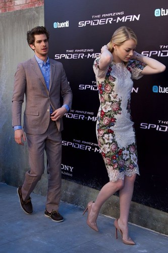"Emma Stone, Andrew Garfield and Rhys Ifans at the Spanish premiere of ""The Amazing Spider-Man"""