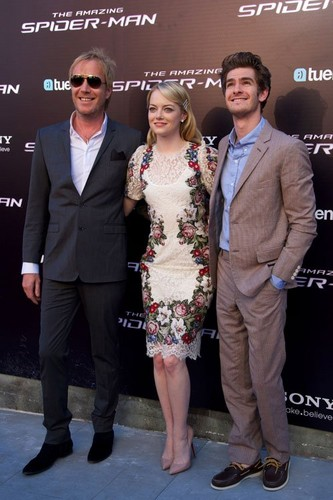"Emma Stone, Andrew Garfield and Rhys Ifans at the Spanish premiere of ""The Amazing Spider-Man""  - emma-stone Photo"